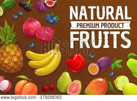 Natural Farm Ripe Fruits Vector Pineapple, Mango, Peach And Banana, Pomegranat, Apple And Pear. Figs