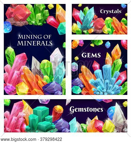 Crystal Gems, Vector Gemstones Cartoon Precious And Semiprecious Jewel Rocks, Gem Stones. Natural Mu