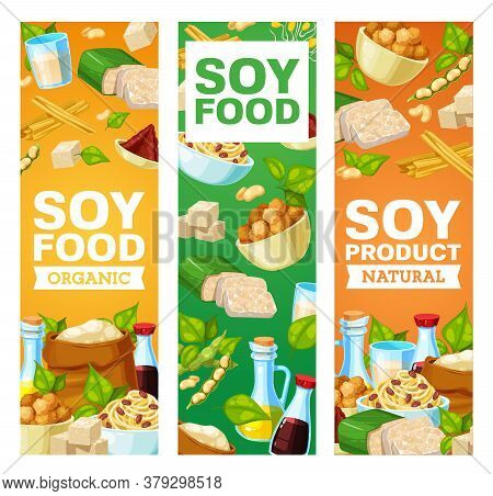 Soybean And Soy Products Vector Banners. Miso Paste, Soy Sauce And Tofu Cheese, Soybean Milk And Oil