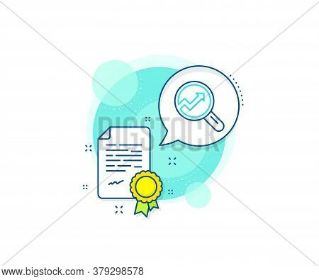 Report Graph Or Sales Growth Sign In Magnifying Glass. Certification Complex Icon. Chart Line Icon.