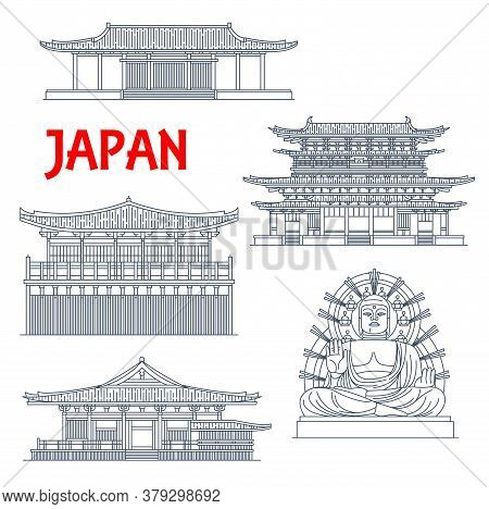 Japanese Temples, Shrines And Japan Pagodas In Nara, Buddhism Architecture, Buddha Statue, Vector La