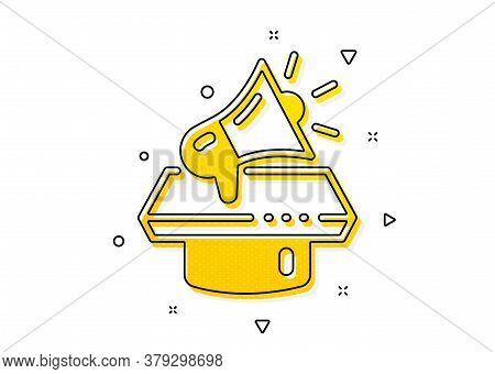 Advertisement Device Symbol. Megaphone Icon. Brand Ambassador Loudspeaker Sign. Yellow Circles Patte
