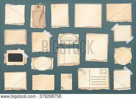 Scrapbooking Vintage Paper Set, Scrapbook Stickers, Old Torn Paper Notes And Retro Antique Labels, V