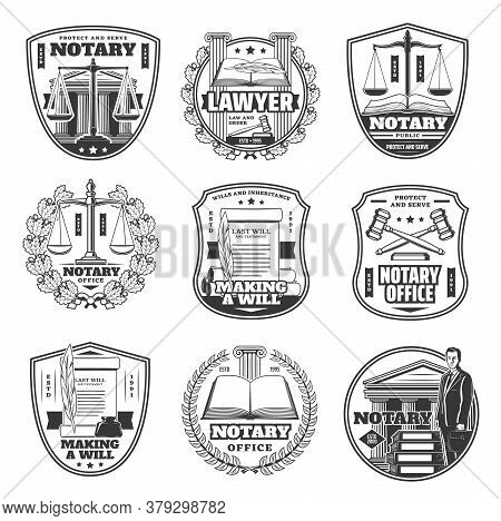 Notary Office Icons, Testament And Decree Documents, Judge And Layer Notarial Service Vector Signs.