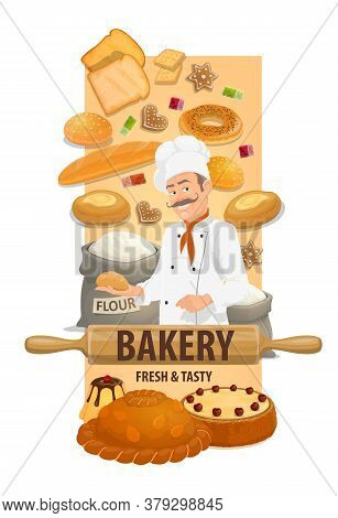 Baker Chef With Bread And Sweet Buns. Smiling Chef In Toque, Bagel, Sandwich Bread, Loaf And Cake, P