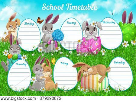 School Timetable Or Student Schedule Vector Template, Education Design. Lesson Plan Chart Or Weekly