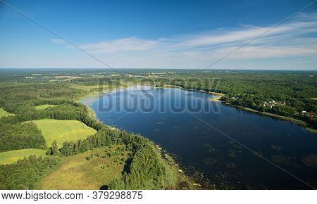 Pond In Foresty Background