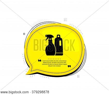 Cleaning Spray And Shampoo Icon. Quote Speech Bubble. Washing Liquid Or Cleanser Symbol. Housekeepin