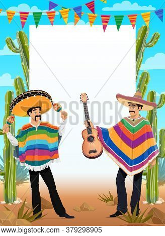 Mexican Cinco De Mayo Poster Mexico Holiday Fiesta And Celebration Party, Vector Background. Cinco D
