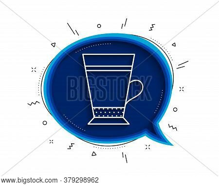 Latte Coffee Icon. Chat Bubble With Shadow. Hot Drink Sign. Beverage Symbol. Thin Line Latte Icon. V