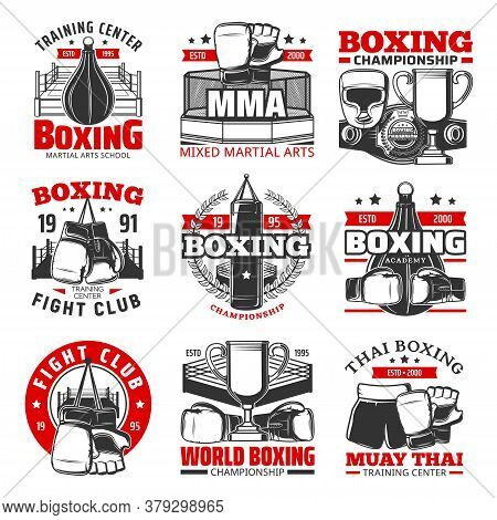 Boxing Muay Thai, Thailand Kickboxing Icons, Vector Martial Arts Vector Signs. Thailand Wrestling Sp