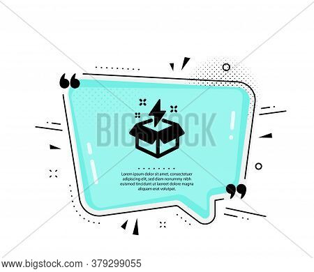 Out Of The Box Icon. Quote Speech Bubble. Creativity Sign. Gift Box With Lightning Bolt Symbol. Quot
