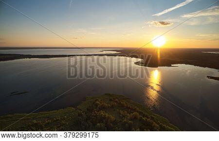 Big Lake In Sunset Time