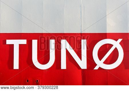Tuno Island Sign On A Boat In Denmark