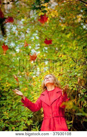 Happy fall woman