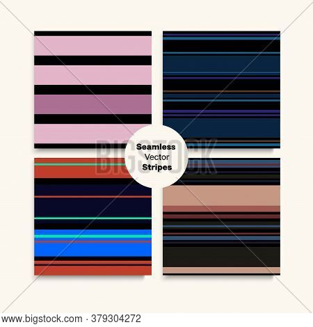 Sailor Stripes Seamless Texture Set. Autumn Summer Modern Fashion Fabric. Trendy Fashion Background