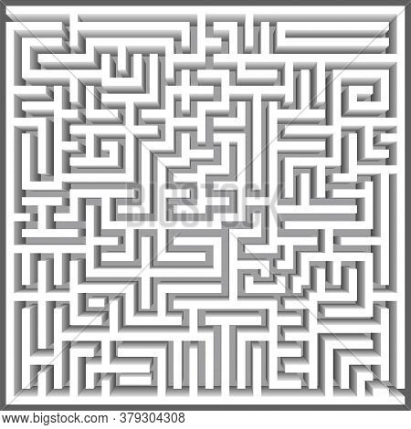 Labyrinth 3d Top View Vector. Maze Game. Classic Box Labyrinth In White Color And High Walls. Gray M