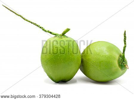Water Drop Green Coconut Isolated On White Background With Clipping Path