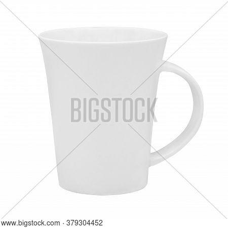 White Ceramic Mug Isolated On White Background With Clipping Path