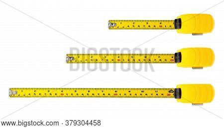 Tape Measure Isolated On White Background With Clipping Path