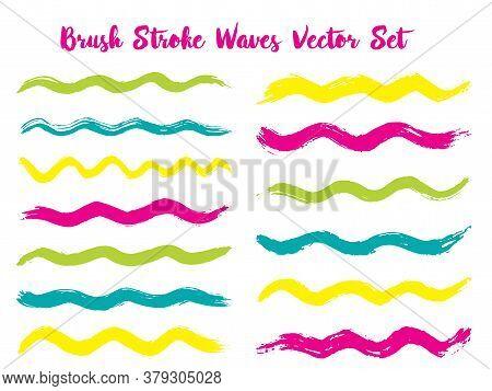 Decorative Brush Stroke Waves Vector Set. Hand Drawn Pink Cyan Brushstrokes, Ink Splashes, Watercolo