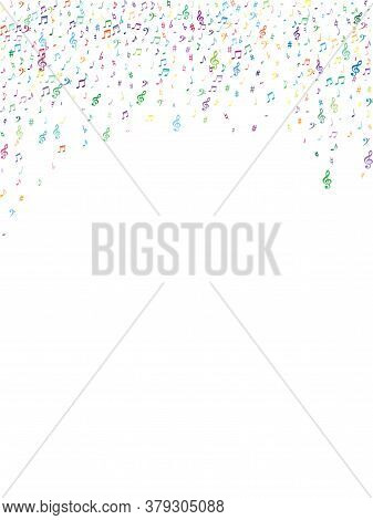 Colorful Flying Musical Notes Isolated On White Backdrop. Cute Musical Notation Symphony Signs, Note