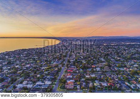 Frankston Suburb At Sunset - Aerial Landscape