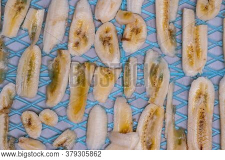 Closeup Of Banana Slices For Dehydration Before Drying.