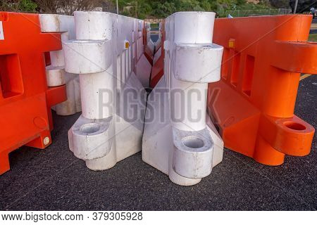 Plastic Temporary Road Fence Parts - Closeup