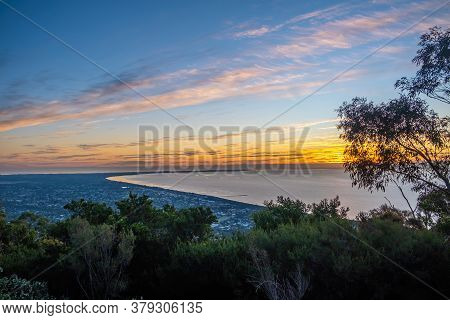 Sunset Over Mornington Peninsula Viewed From Arthurs Seat In Melbourne, Australia