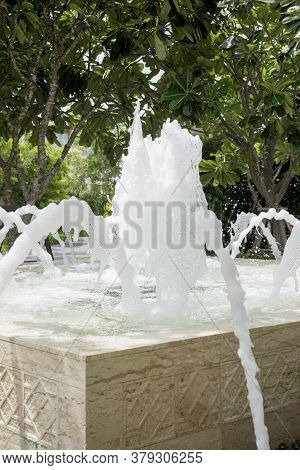 Water Flow From The Pipes Of The Fountain,  Pool Pipe  Waste Water,  Sponge  Small Fountain,  Oxygen