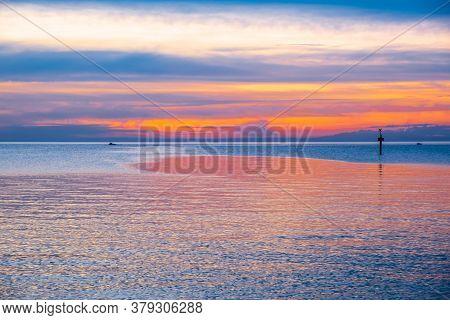 Sunset Over Ocean Near The Coastline In Australia