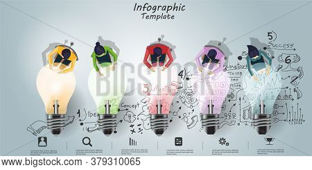 Businessman And Lady Brainstorm Brainstorm Success, Modern Idea And Concept Vector Illustration Info