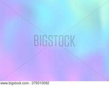 Hologram Effect Glitch Gradient Vector Design. Vivid Pastel Rainbow Unicorn Background. Liquid Color