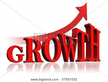 Growth Red Word And Arrow