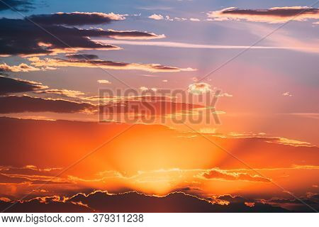 Sunshine In Sunrise Bright Dramatic Sky. Scenic Colorful Sky At Dawn. Sunset Sky Natural Abstract Ba