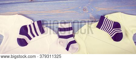 Vintage Photo. Clothing For Newborn, Concept Of Expecting For Baby And Extending Family, Place For T