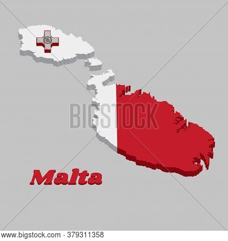 3d Map Outline And Flag Of Malta, A Vertical Bicolor Of White And Red With The Representation Of The