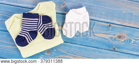 Clothing And Apparel For Newborn, Extending Family And Expecting For Baby Concept, Place For Text Or
