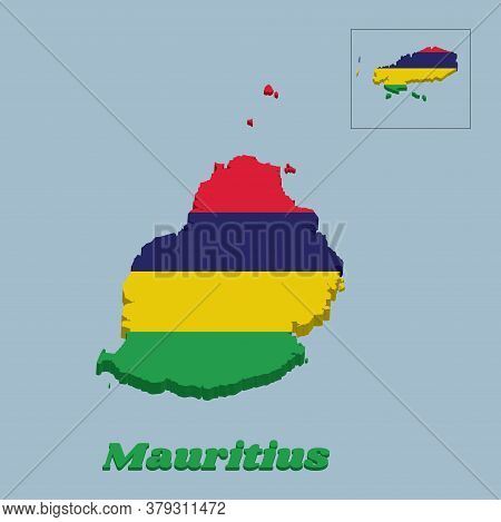 3d Map Outline And Flag Of Mauritius, Four Horizontal Bands Of Red Blue Yellow And Green. With Name
