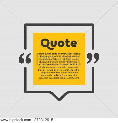 Quote Square Text With Bracket, Vector Background