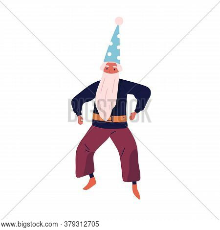 Male Character In Wizard Costume Vector Flat Illustration. Festive Magical Gnome With Beard And Cap