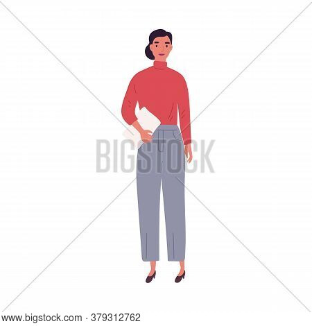 Young Businesswoman Carrying Paper Documents Vector Flat Illustration. Smiling Trendy Female Entrepr
