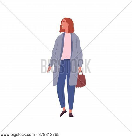 Smiling Casual Girl With Briefcase Walking Vector Flat Illustration. Happy Young Modern Businesswoma