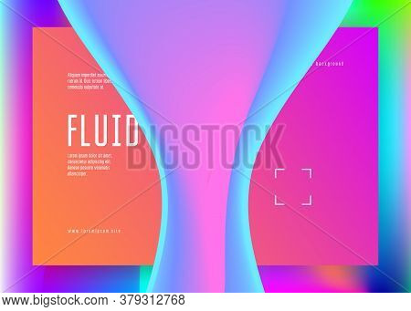 Liquid Fluid. Rainbow Screen, Banner Design. Vivid Gradient Mesh. Holographic 3d Backdrop With Moder