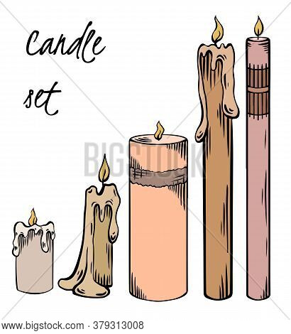 Set Of Relax Candles. Colorful Sketch With Hatching. Various Wax Candles. Vector Spa, Relaxation Ele