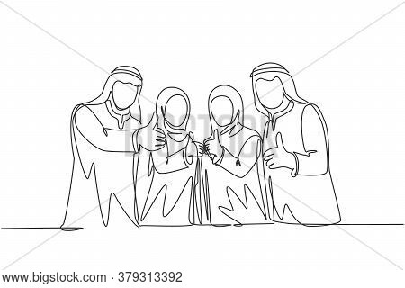 One Single Line Drawing Of Young Happy Muslim Businesspeople Line Up Neatly And Give Thumbs Up. Saud