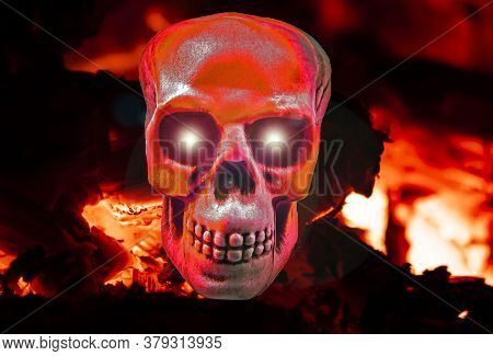 Human Skull In The Blazing Fire Of Hell. Halloween Holiday. All Saints' Day. Glittering Eyes. Backgr