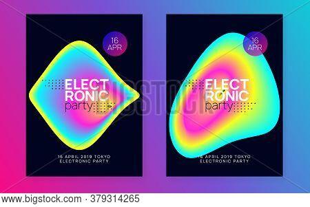 Music Fest Set. Fluid Holographic Gradient Shape And Line. Wavy Trance Party Banner Design. Electron