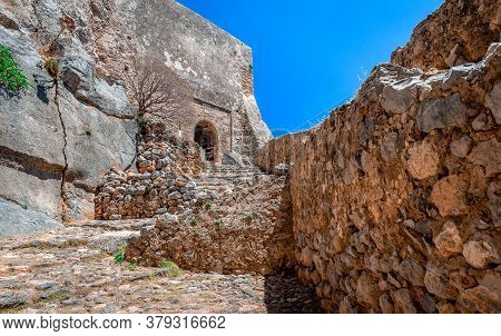 Monemvasia, Greece: View Of The Trail That Leads From The Lower Town (the Village) To The Upper Town